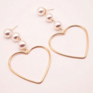 Heart Shaped Long Statement Pearl Drop Earrings