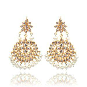 High Quality Kundan Earrings with Maang Tikka