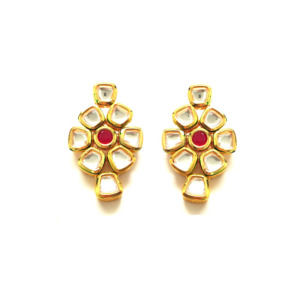 High Quality Kundan Earrings with Red Stone for Women