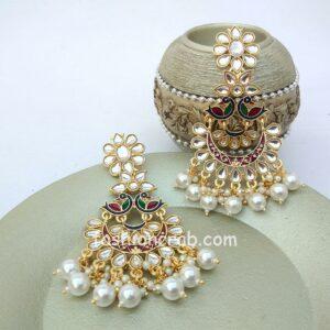 Peacock Style Pearl Drop Long Earrings