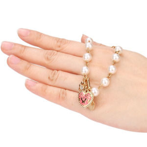 Pearl Crystal D Word Beaded Charm Friendship Bracelets
