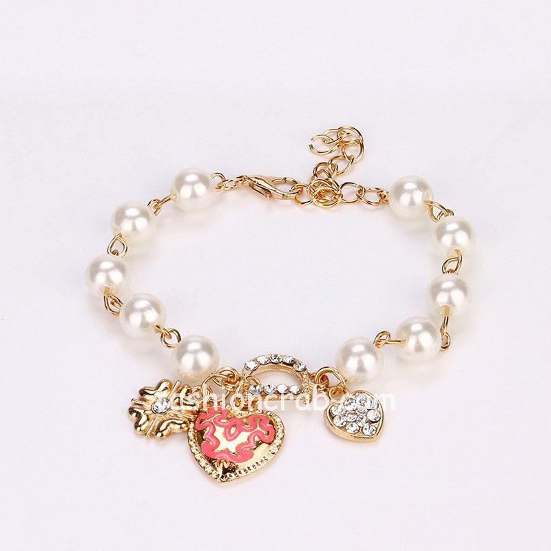 Pearl Crystal D Word Beaded Charm Friendship Bracelets