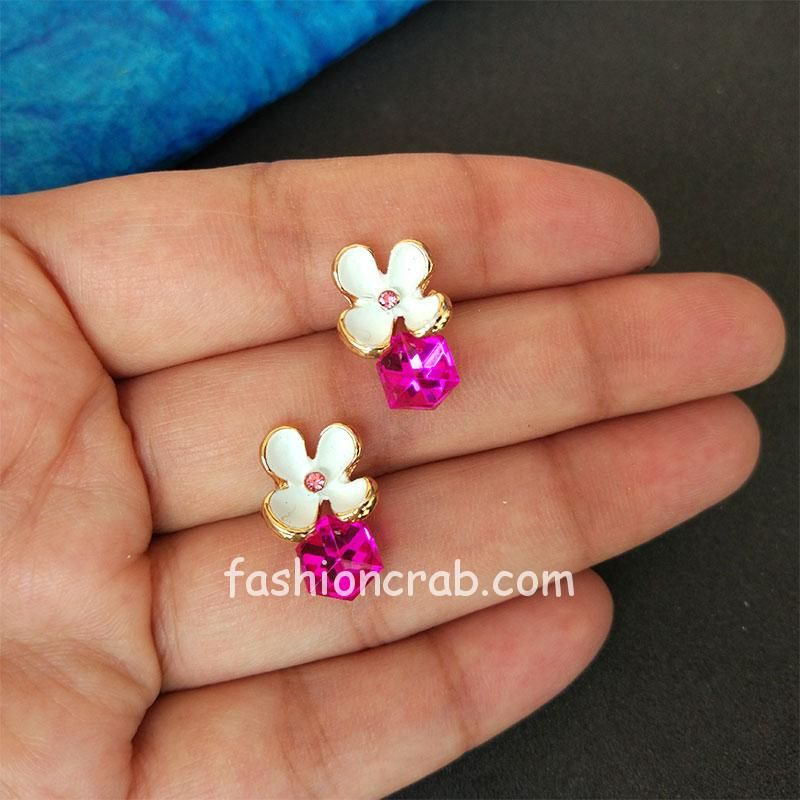 Purple and White Cubic Crystal Stud Flower Earrings for Girls