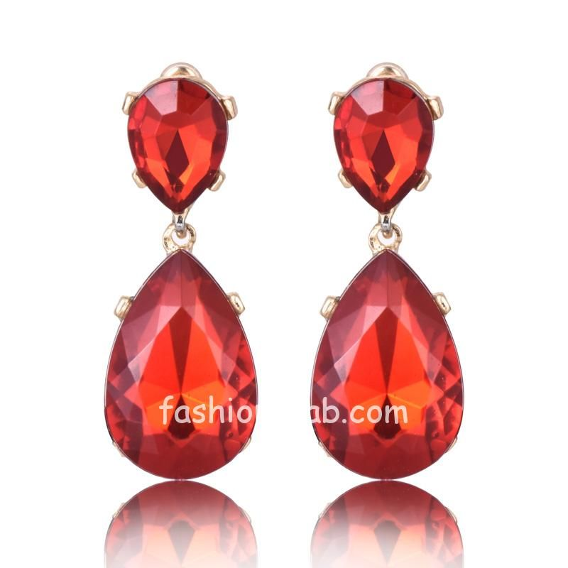 Red Crystal Rhinestone Drop Party Earring for Women