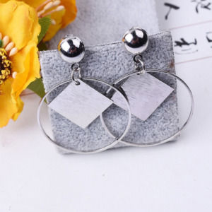 Silver Color Round Circle Hoop Earrings With Square Geometric Fashion Earrings