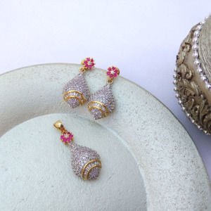 American Diamond Pendant Set with Pink Flower Stone