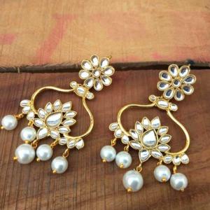 Designer Floral Pearl Drop Earrings for Women