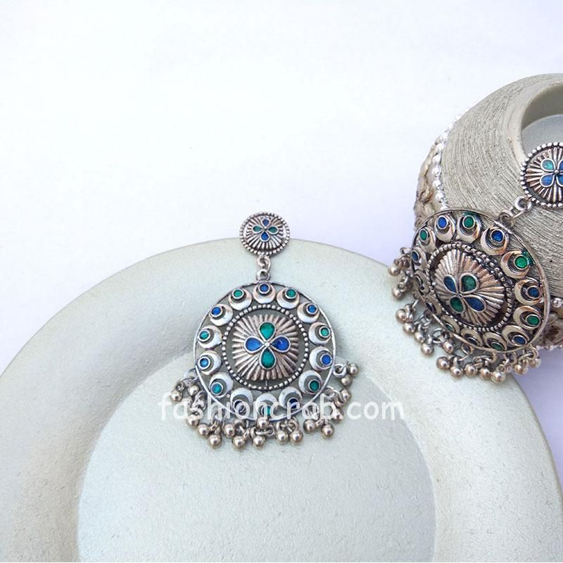 Ethnic Blue and Green Stone German Silver Drop Ghunghroo Hanging Earring