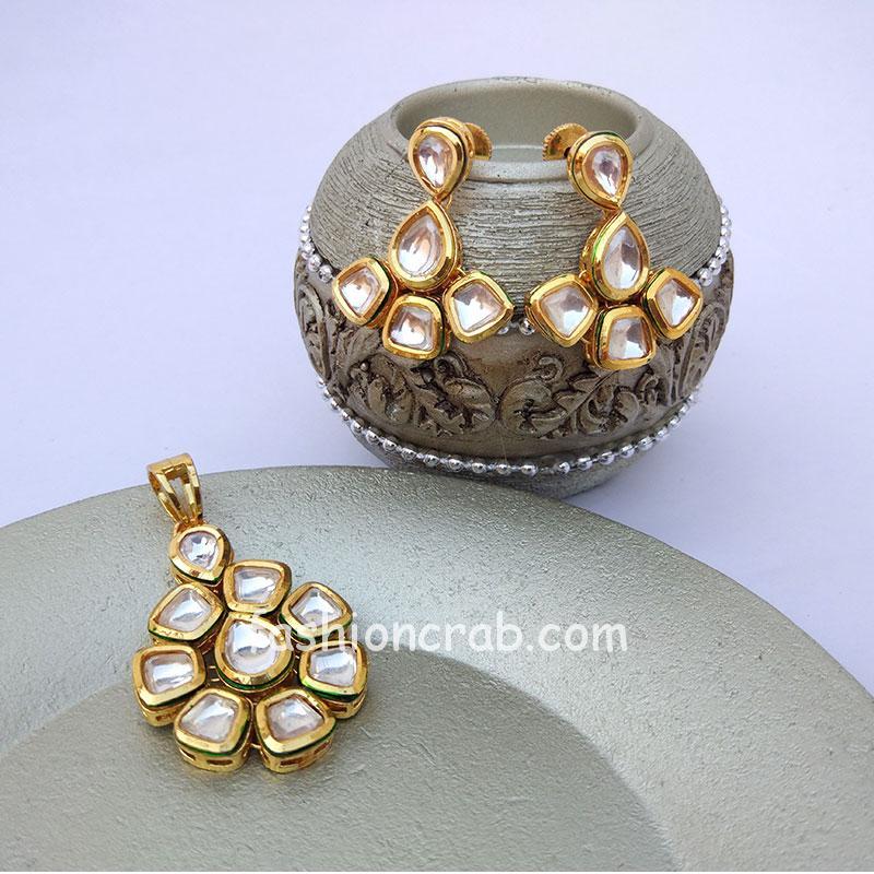 High Quality Traditional Designer Kundan Pendant Set for Women