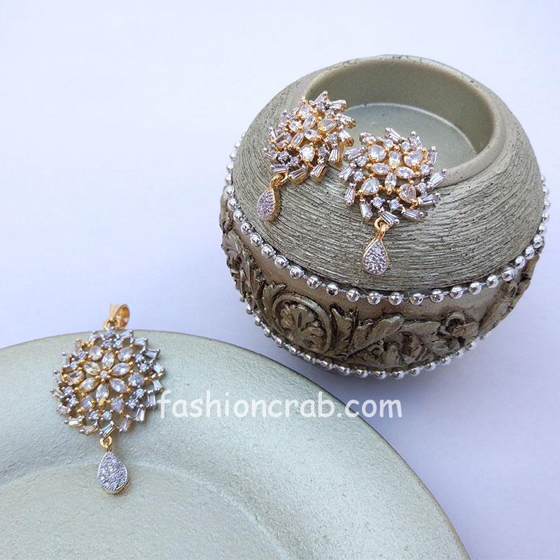 Indian Traditional American Diamond Pendant Set