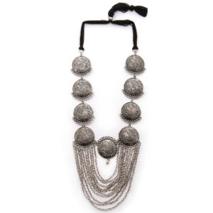 Long Oxidised Silver Necklace