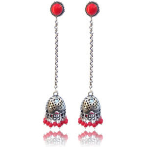 Oxidised German Silver Long Jhumka Earring with Chain