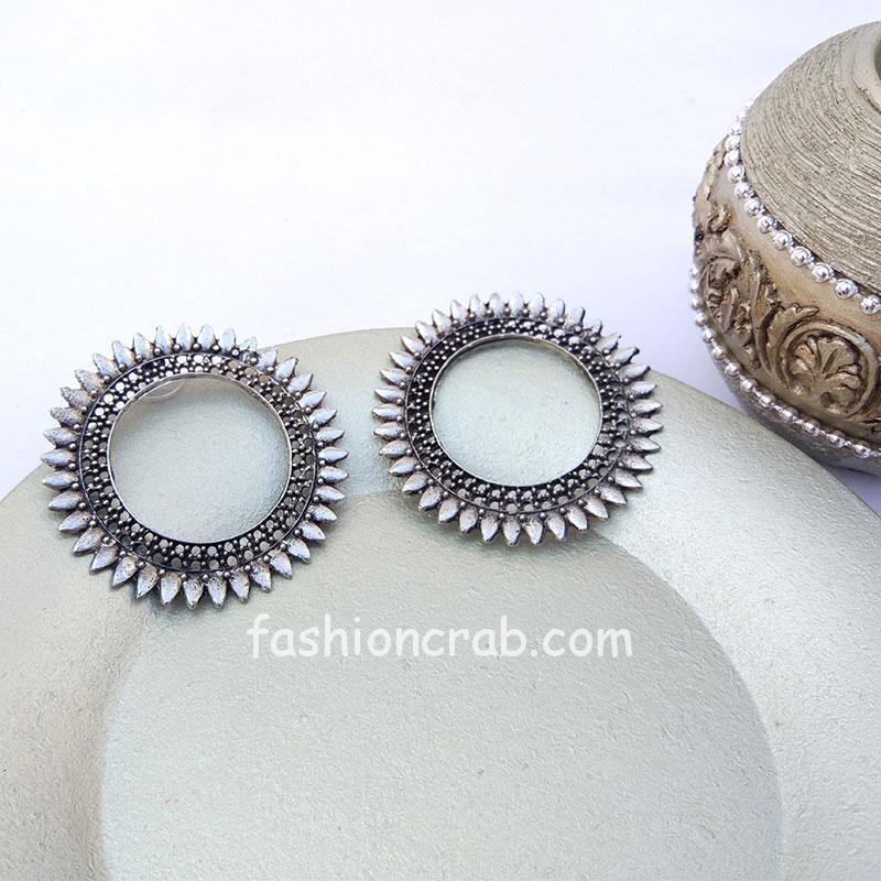 Oxidized Silver Hoop Earrings for Women and Girls