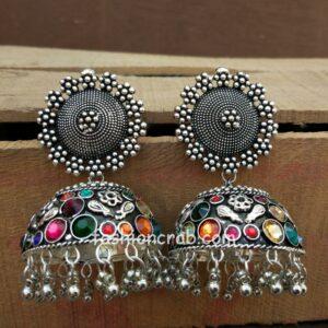 Big Size Multicolor Oxidised Silver Jhumka Earring