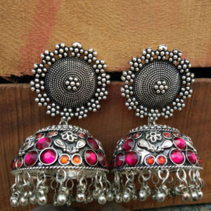 Big Size Pink Orange Oxidised Silver Jhumka Earring