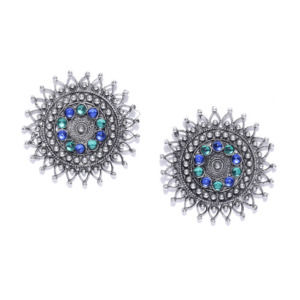 Blue Green Crystal Oxidized Silver Plated Stud Earring