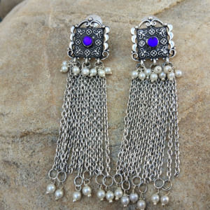 Blue Stone Oxidized Earring with Pearl Chain Drop
