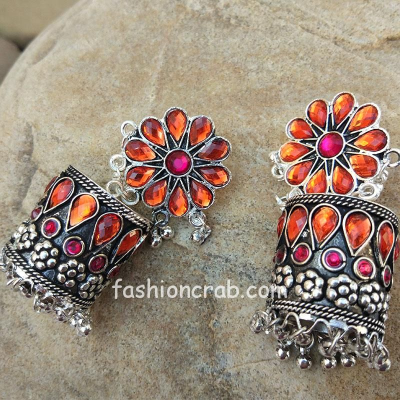 Floral Patterned Pink Orange Stone-Studded Oxidised Earring