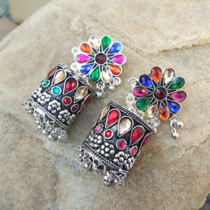 Floral Patterned Stone-Studded MultiColor Oxidised Earring