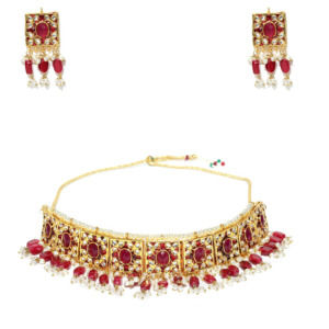 Maroon Red Pearl Choker Necklace Set for Women
