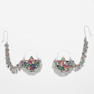 MultiColor Oxidized Silver Chandbali Earring