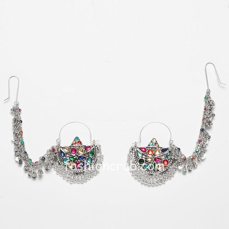 MultiColor Oxidized Silver Chandbali Earring
