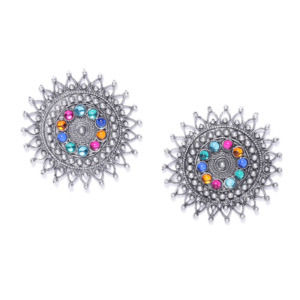 Multicolor Oxidised Silver Plated Stud Earring