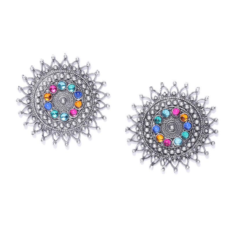 Multicolor Oxidised Silver Plated Stud Earring