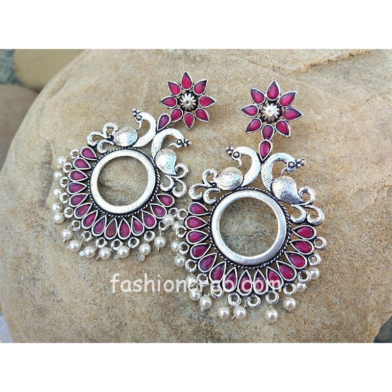 Oxidised Silver Pink Stone Peacock Chandbali Earring