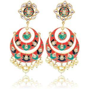 Peach Color Ethnic Meenakari Earring for Women