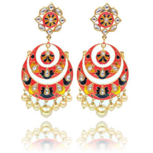 Peach Color Indian Meenakari Dangle Earring