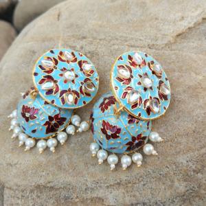 Traditional Blue Red Meenakari Jhumka Earring for Women