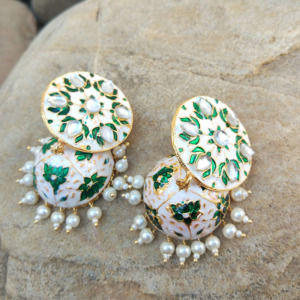 White Green Meenakari Kundan Work Traditional Earring
