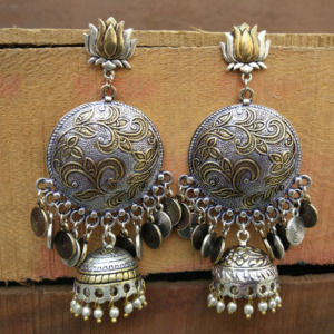 Big Dual Toned Oxidised Silver Chandbali Earrings