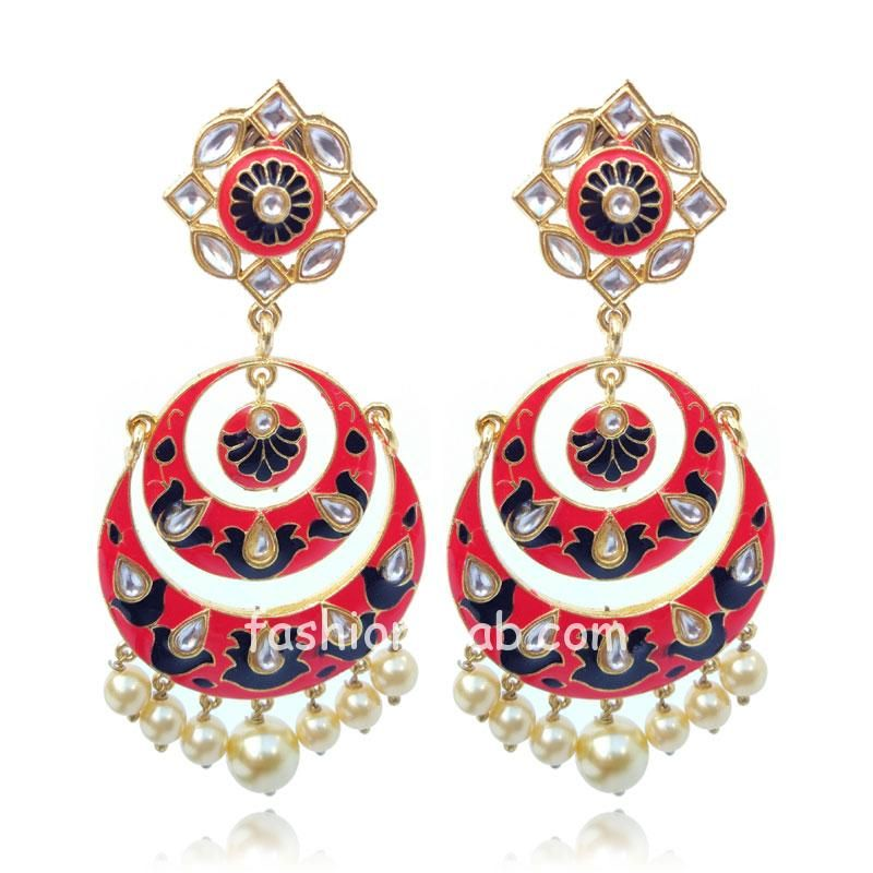 Black Cherry Color Indian Meenakari Earring