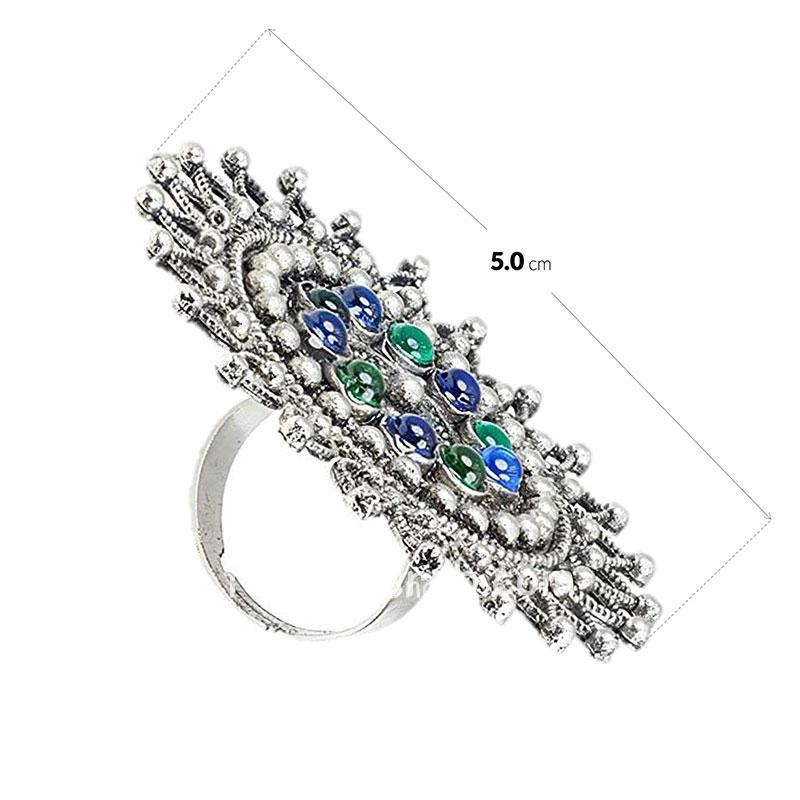 Blue Green Oxidized Silver Finger Ring for Women