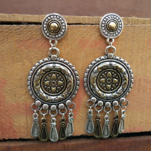 Dual Tone Oxidized Silver Drop Earring for Women