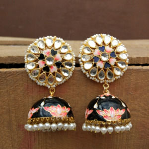 Floral Hand Painted Black Meenakari Jhumka for Women