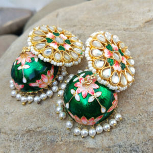 Floral Hand Painted Green Meenakari Jhumka for Women