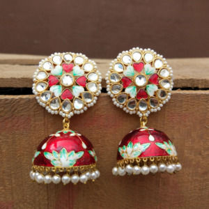 Floral Hand Painted Red Meenakari Jhumka for Women