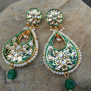 Green Meena Kundan Earring for Women