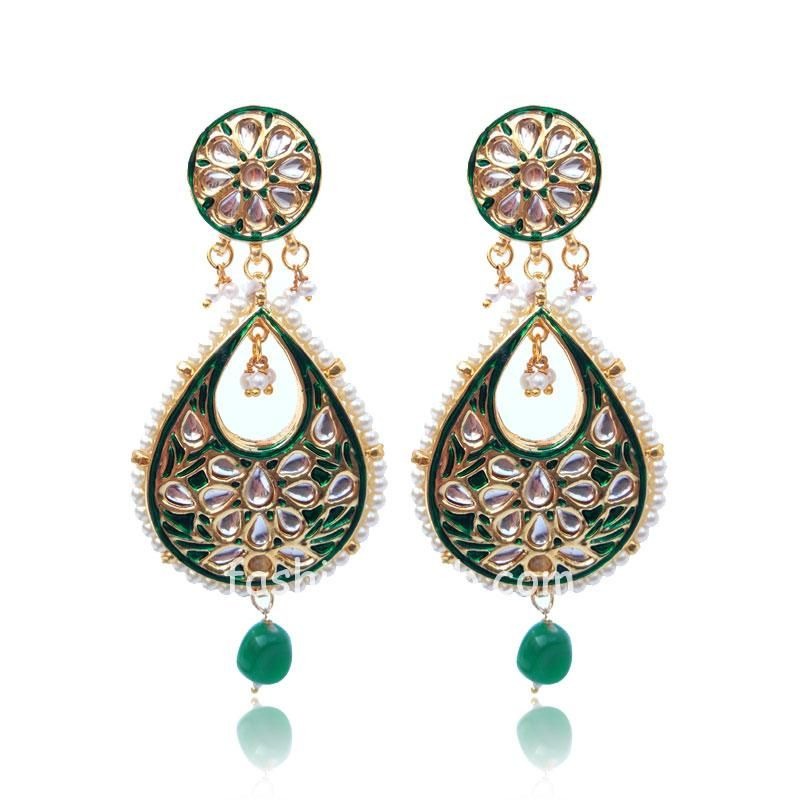 Green Meena Kundan Earring for Women