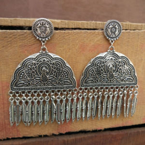 Peacock Embellished Ethnic Oxidised Silver Earrings
