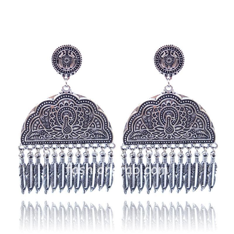 Peacock Embellished Ethnic Oxidised Silver Earrings