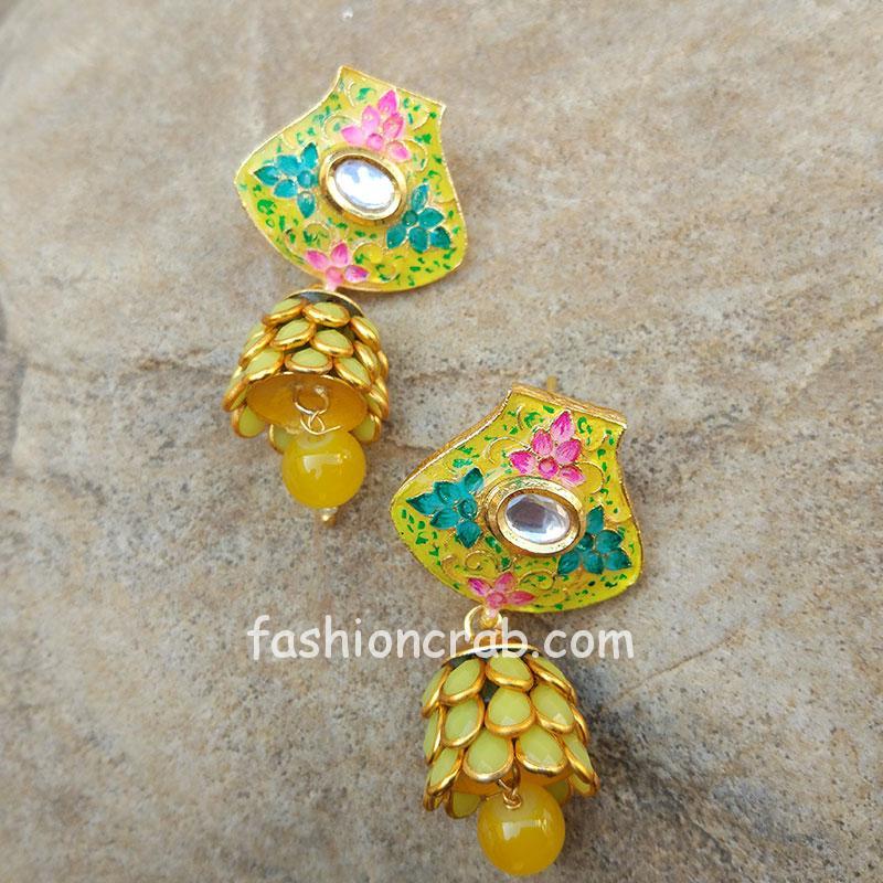 Pink Green Meena Pacchi Yellow Earring