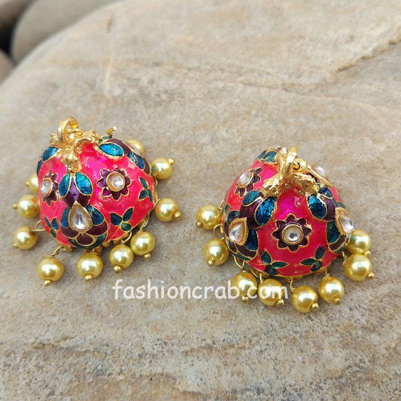 Pink Jhumka Earring