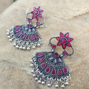 Pink Stone Drop Earring