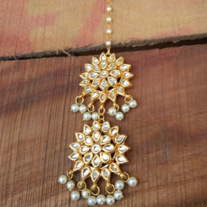 Two Layer Kundan Pearl MaangTikka for Girls