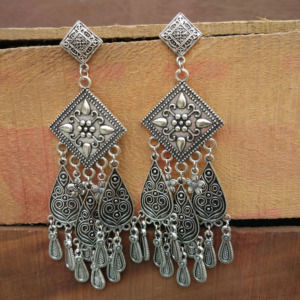 Unique Designer Big Oxidized Silver Earrings-02