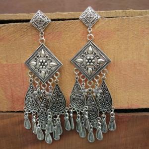 Unique Designer Big Oxidized Silver Earrings-02